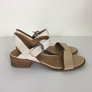 Lucky Brand White and Cream Leather Toni Sandals